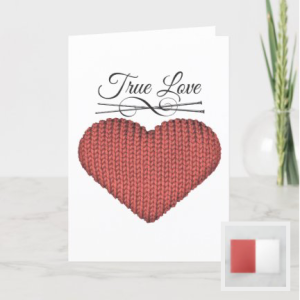 red knit heart card