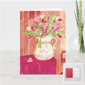 The image is a multicolor, watercolor painting of a pitcher over-filled with heart flowers, a red cloth-covered table, heart wallpaper, and a heart-shaped wood chair.